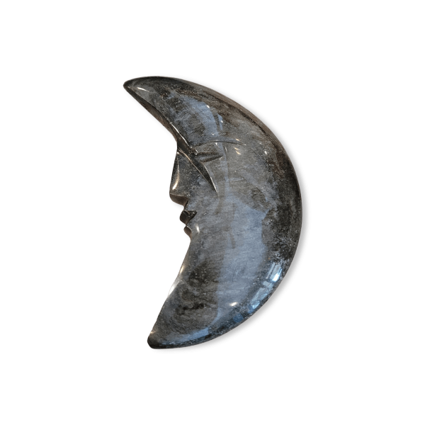Goldsheen Obsidian Crescent Moon